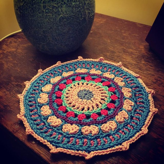Another acreativebeing crochetmandala with an edit at the edges crochet