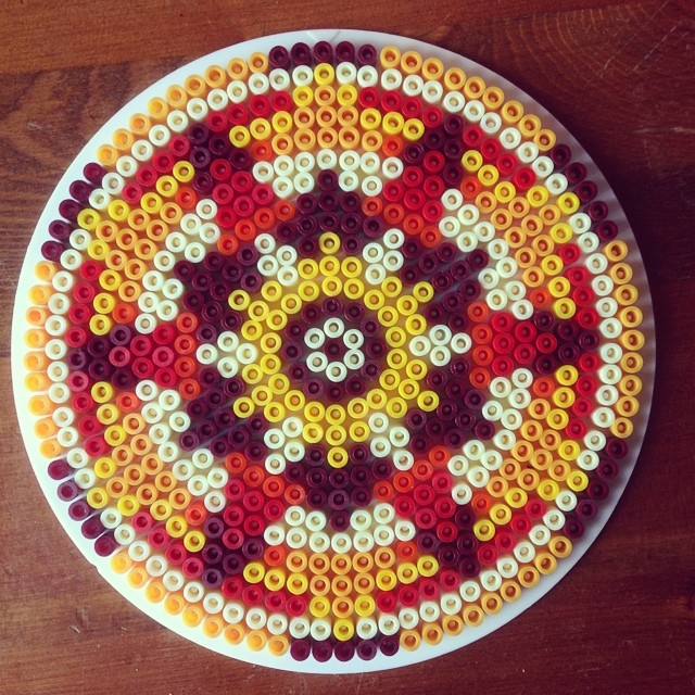 Finished #mandala #hamabeads #craftmerrily