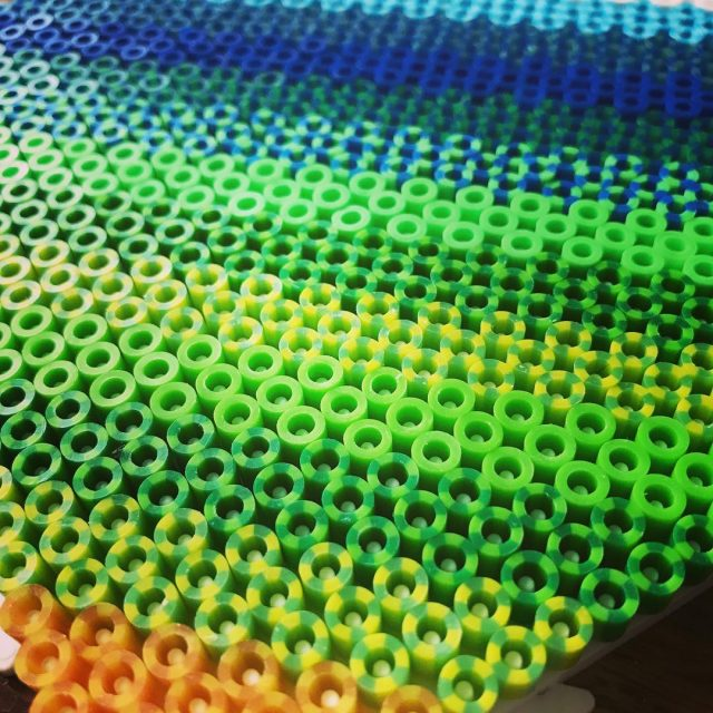 hamabeads perlerbeads stripedbeads working in a perfect shaded bit ofhellip