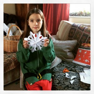 One little elf earlier getting ready for  with the craft ideas they sent us.